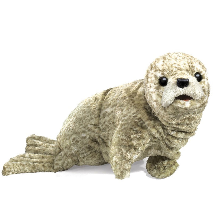 You do not need to journey to our oceans' coasts to experience the beauty of the Harbor Seal. This adorable puppet has such a heartwarming, soulful face it is hard to put down. Big, black eyes; soft whiskers, and silky fabric fur make the puppet a sure-to-be favorite.