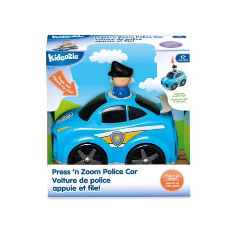 The Kidoozie Press 'n Zoom Police Car features lots of little enticing details. The wheels spin and the spoiler jumps as it rolls. Plus it comes has cool police decals on the side with safe rounded edges and a little peek-a-boo officer. You want to give your child good role models from the start like doctors, firefighters, and police officers. Now with the Press 'n Zoom Police Car, they have a little hero of their own to help. They'll have hours of fun getting their pal to the scene of the emergency. The Pr