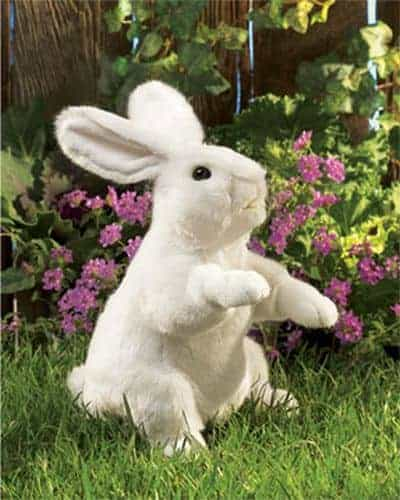 Running to his burrow or nibbling on the garden, the soft and timid bunny rabbit is a favorite animal of young children. This Bunny Rabbit puppet is just the right size for cuddling, whether on or off the hand of Mom or Dad