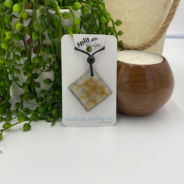 Silver & Gold Resin Pendant Necklace