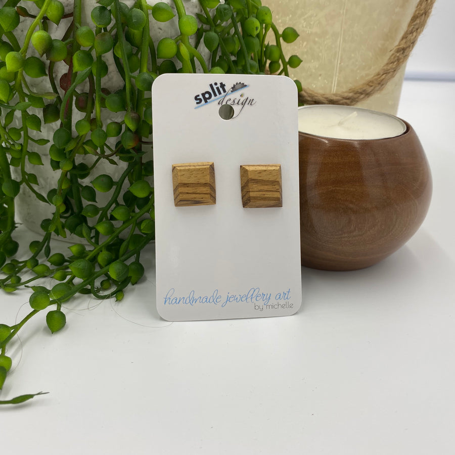 Zebrano Square Sterling Silver Stud Earrings