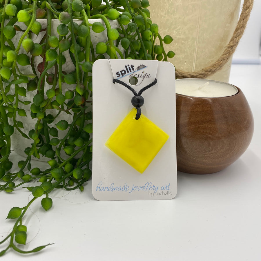 Yellow Resin Pendant Necklace