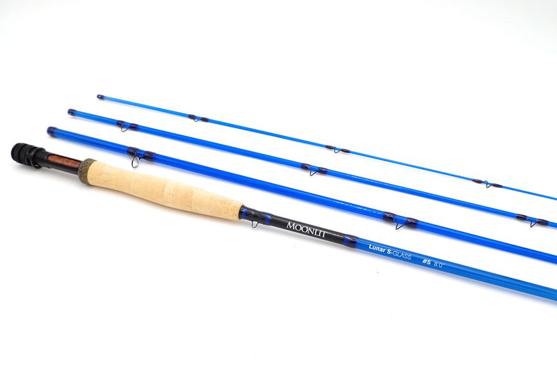 5wt Moonlit Lunar S-GLASS Fiberglass Fly Rod with case