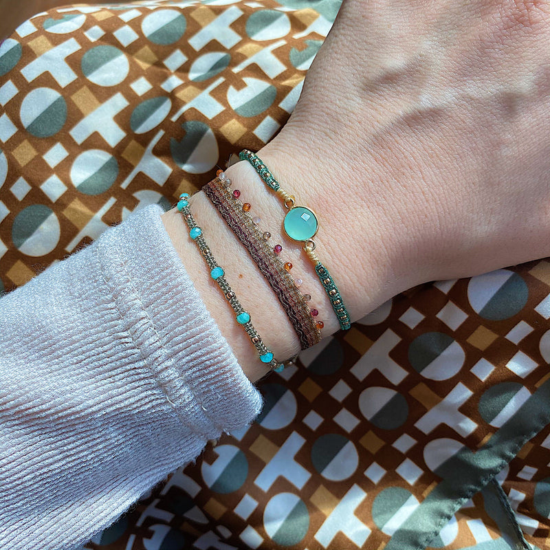 STONE SAND BRACELET IN TURQUOISE AND ROSE GOLD