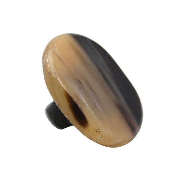 Adonis Horn Black Disc Shape Ring