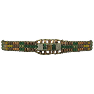 HANDWOVEN BRACELET IN GREEN TONES FOR HIM