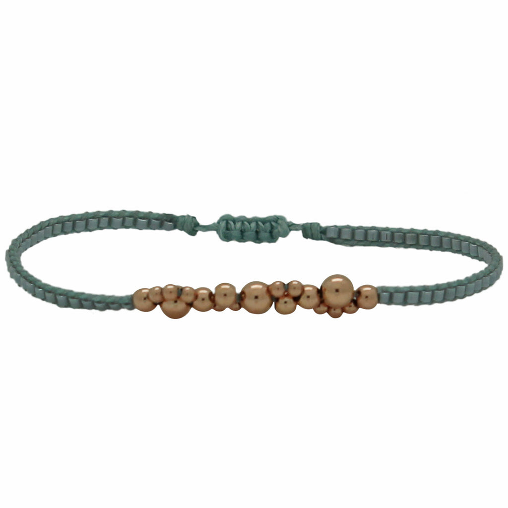 ROSE GOLD BUBBLE BRACELET IN BLUE