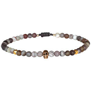 SKULL BRACELET WITH BOTSWANA STONE FOR HIM