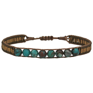 TURQUOISE STONE SINGLE WRAP BRACELET FOR HIM
