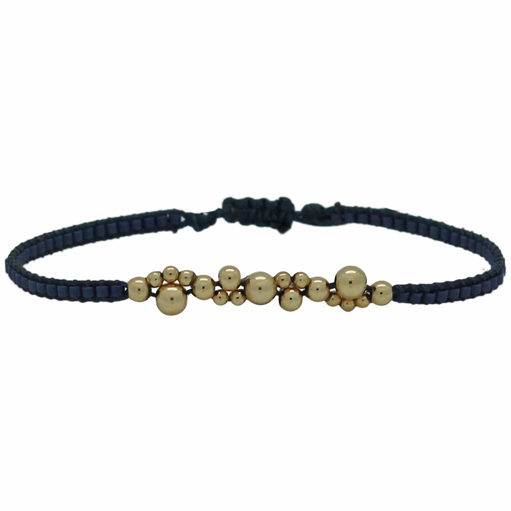 GOLD BUBBLE BRACELET IN DARK BLUE