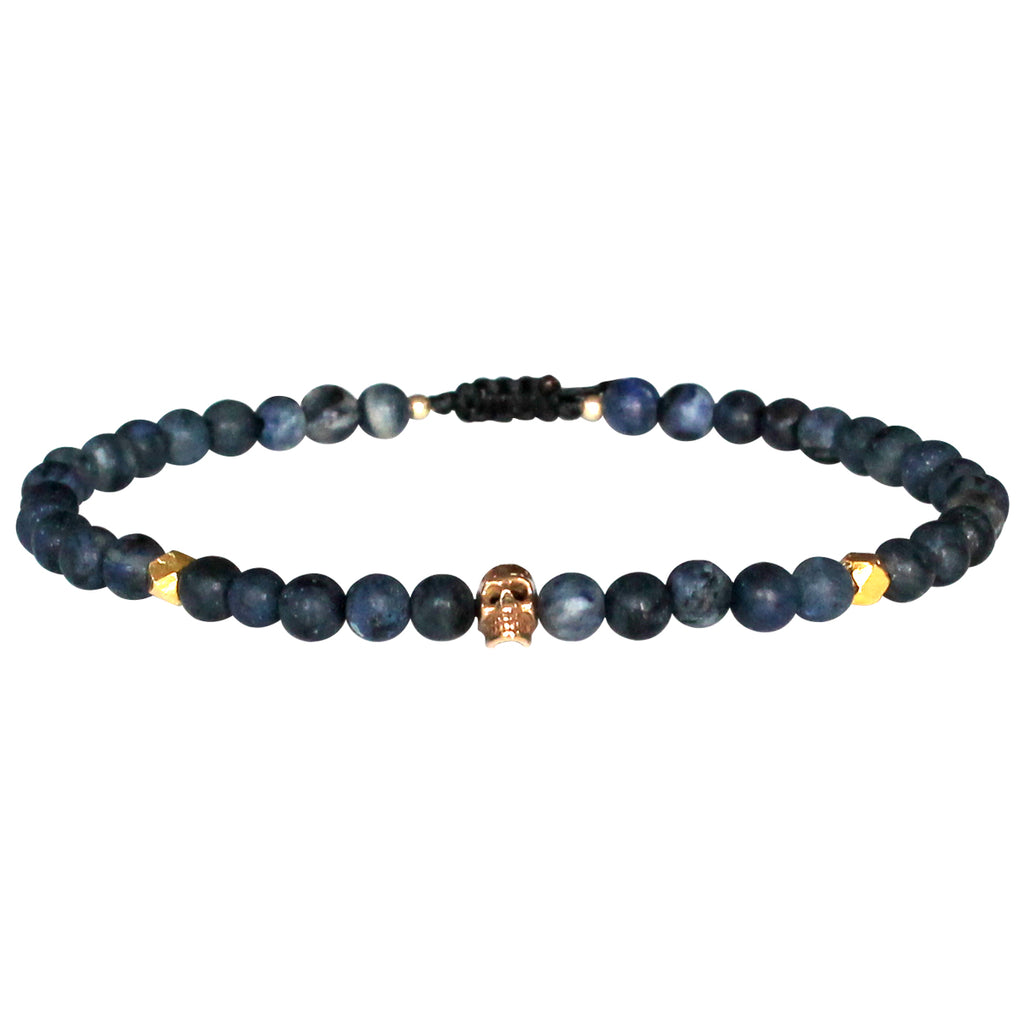SKULL BRACELET WITH SODALITE STONES FOR HIM