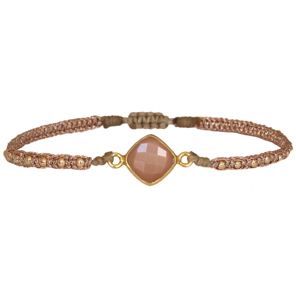 PEACH SUNSTONE HANDWOVEN BRACELET