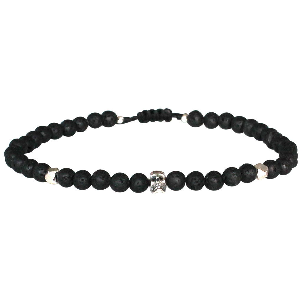 SKULL BRACELET WITH LAVA STONE FOR HIM