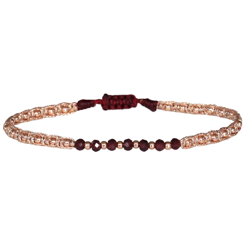 MAR BRACELET IN ROSE GOLD & RHODOLITE STONES
