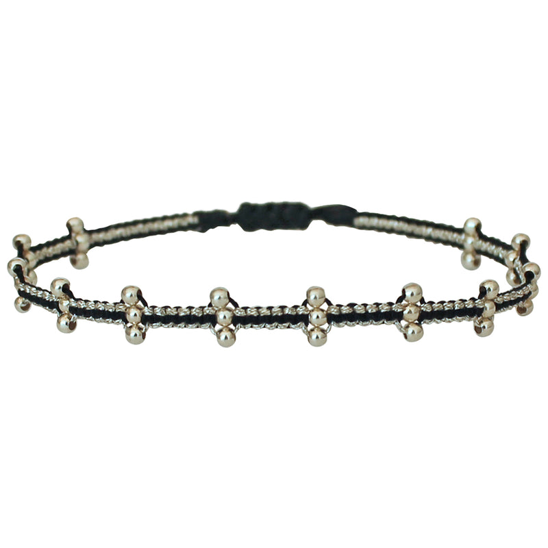 BAR BRACELET IN BLACK & SILVER