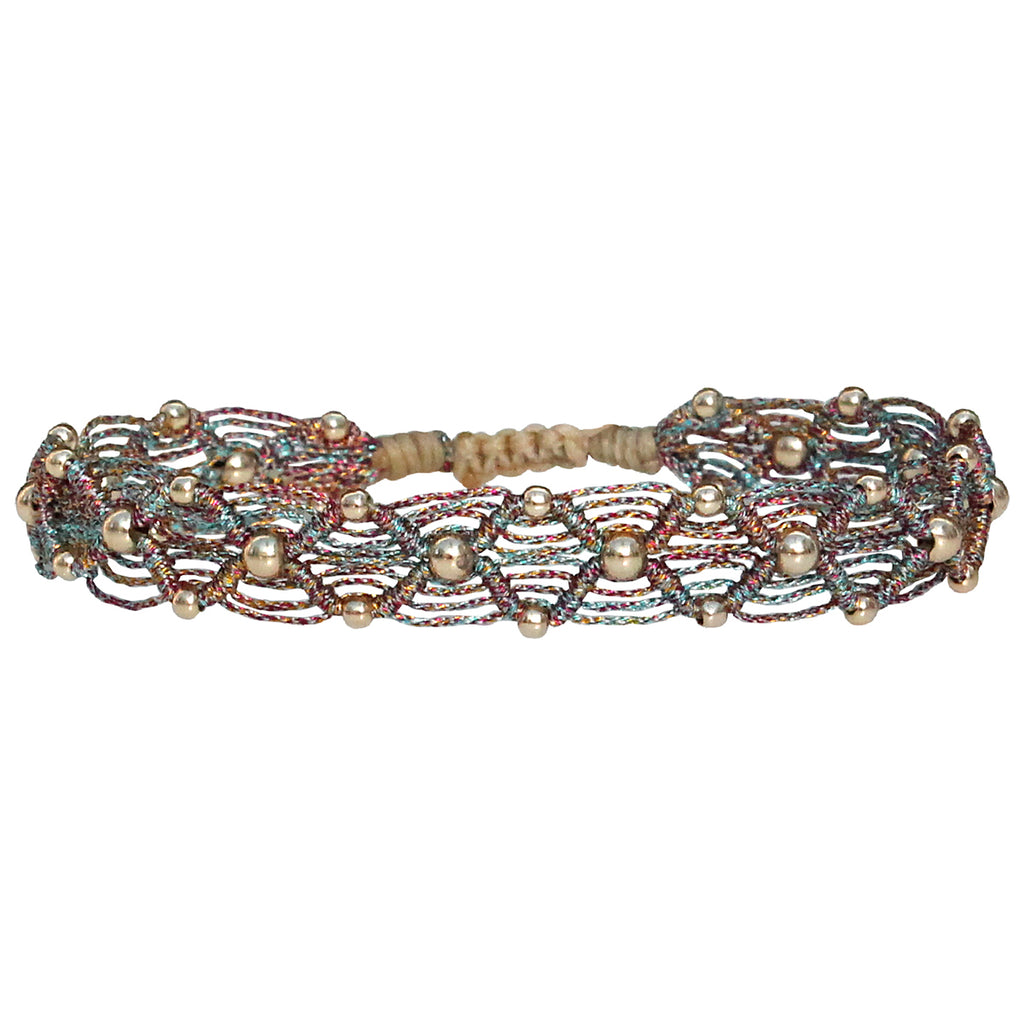 MULTICOLOUR BEAD WEB HANDWOVEN BRACELET