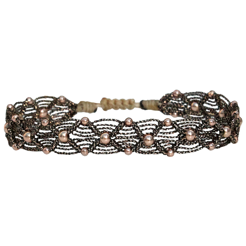 BEAD WEB HANDWOVEN BRACELET IN BLACK & ROSE GOLD