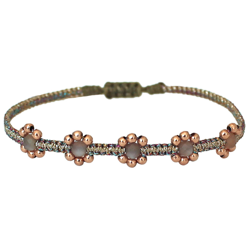 LILAC BRACELET IN ROSE GOLD AND METALLIC MULTICOLOUR THREADS