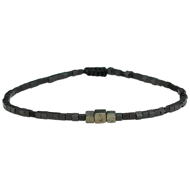 STONE BRACELET IN SILVER TONES FOR HIM