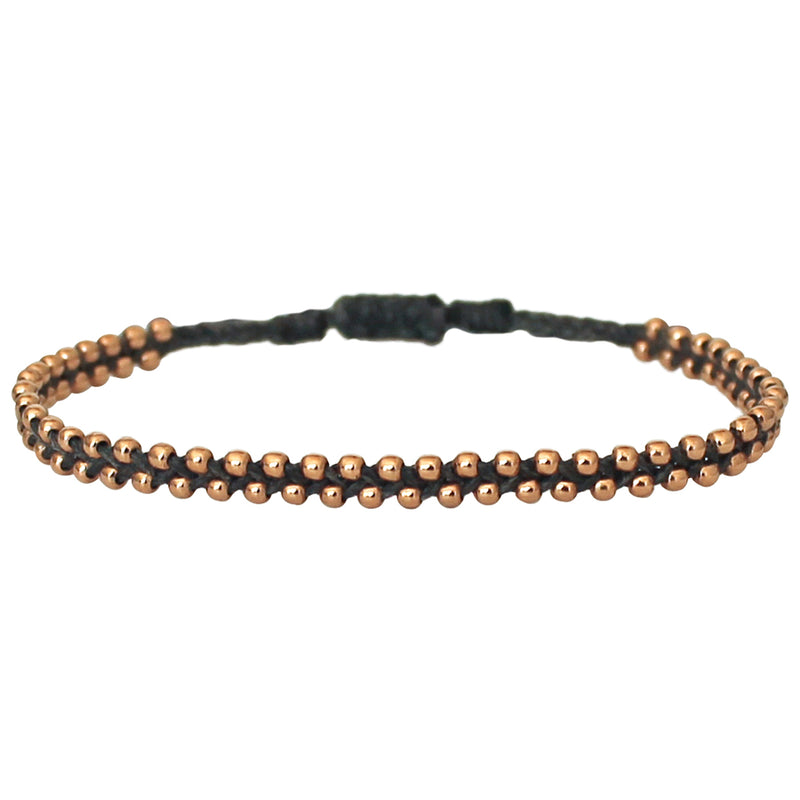 TRENZA HANDWOVEN BRACELET IN GREY & ROSE GOLD