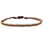TRENZA HANDWOVEN BRACELET IN BURGUNDY & GOLD