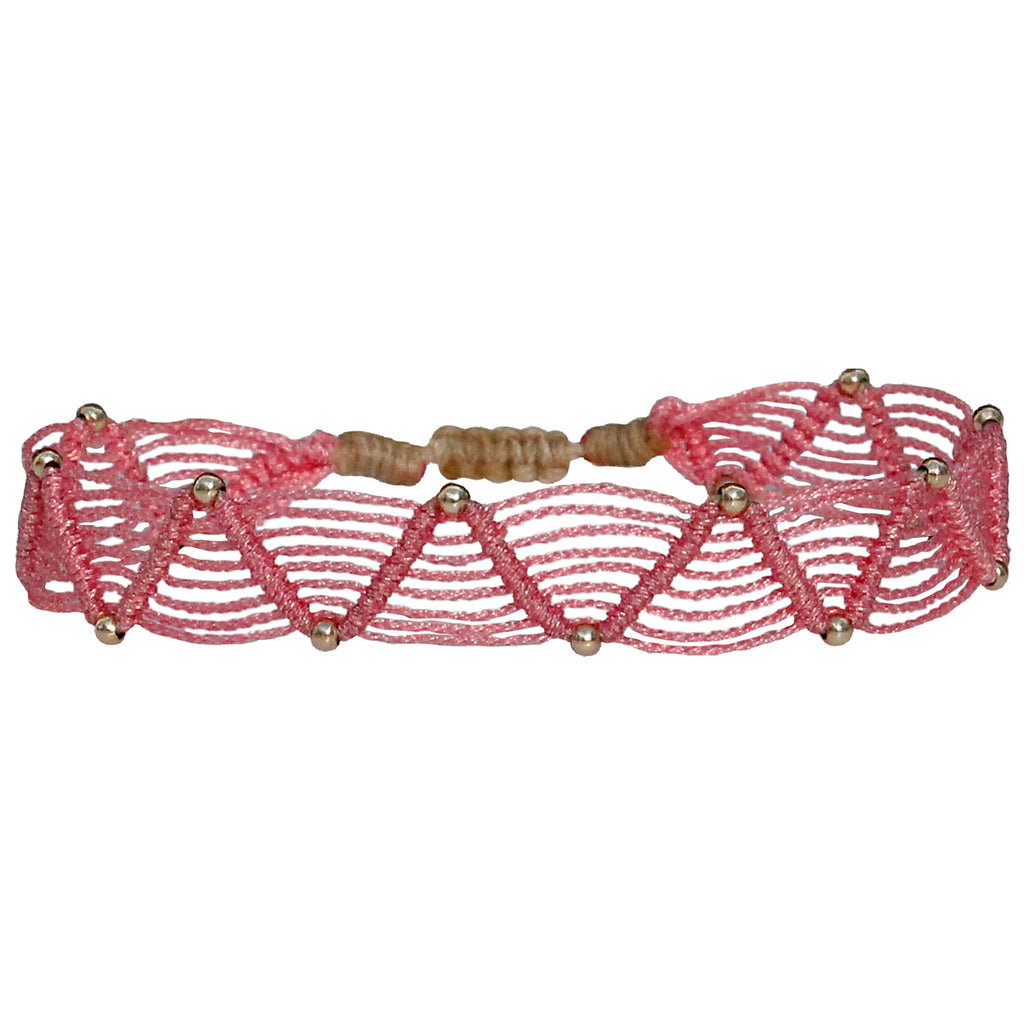 WEB BRACELET IN LIGHT PINK & GOLD
