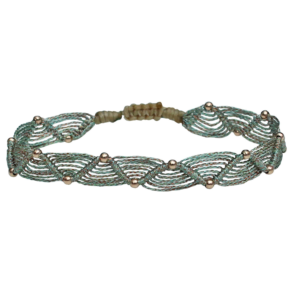 WEB BRACELET IN TURQUOISE TONES AND ROSE GOLD DETAILS