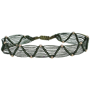 WEB BRACELET IN DARK GREEN TONES AND GOLD DETAILS