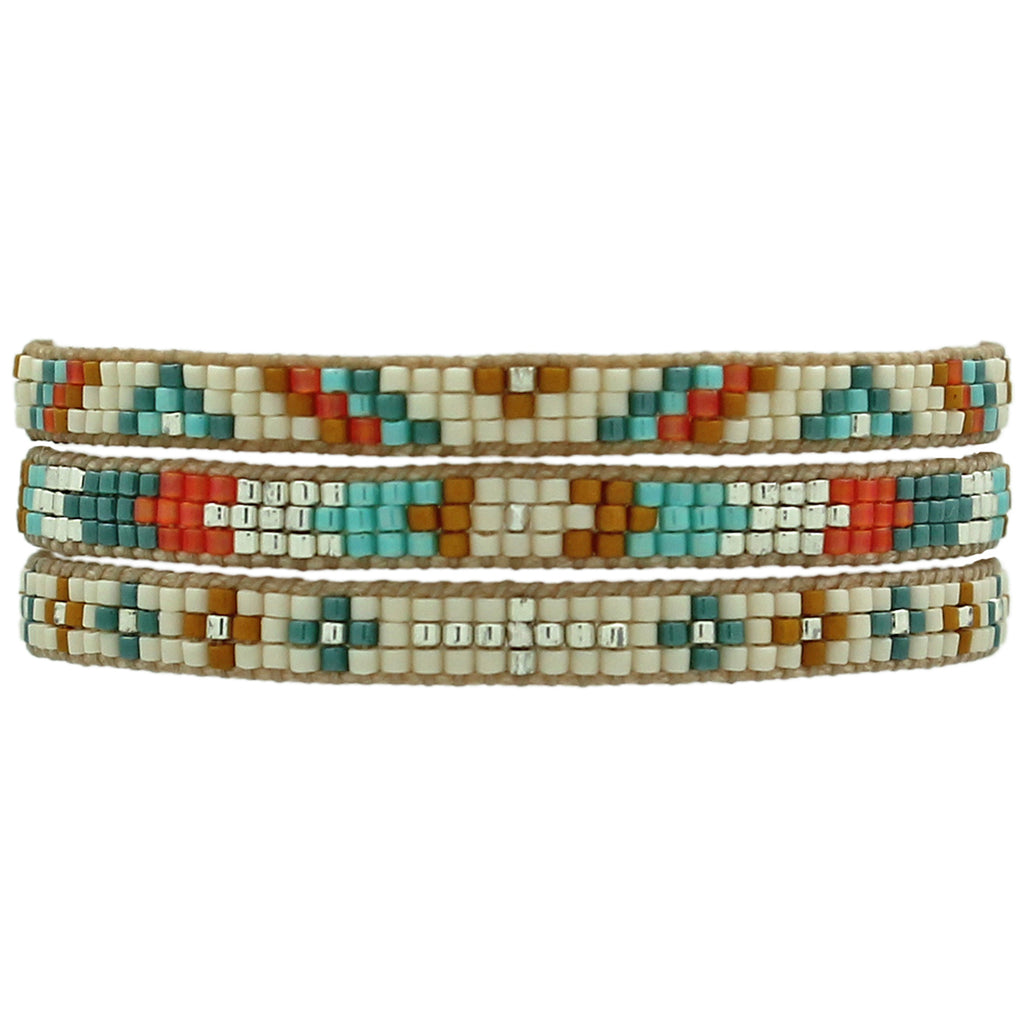 SET OF THREE BARCELETS IN BEIGE, TURQUOISE & SILVER TONES