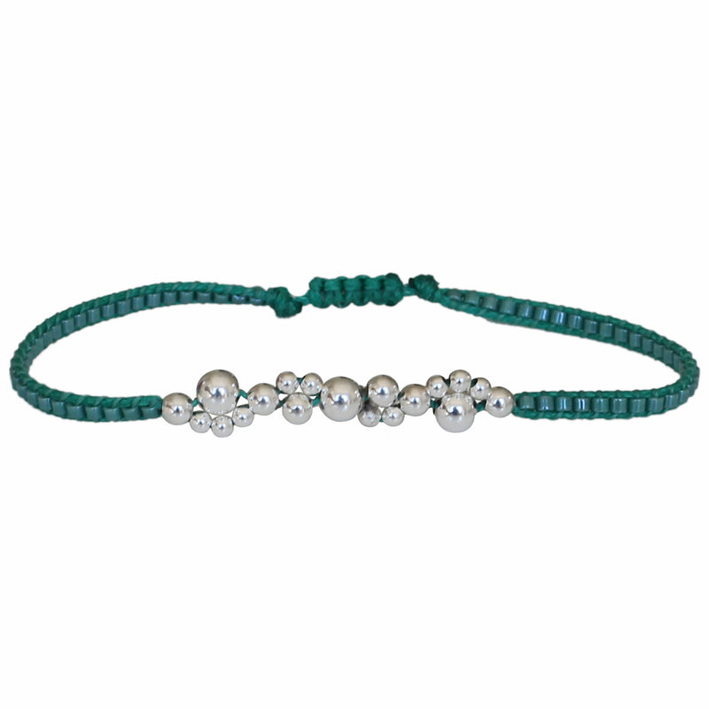 BUBBLE BRACELET IN AQUA TONES AND SILVER DETAILS