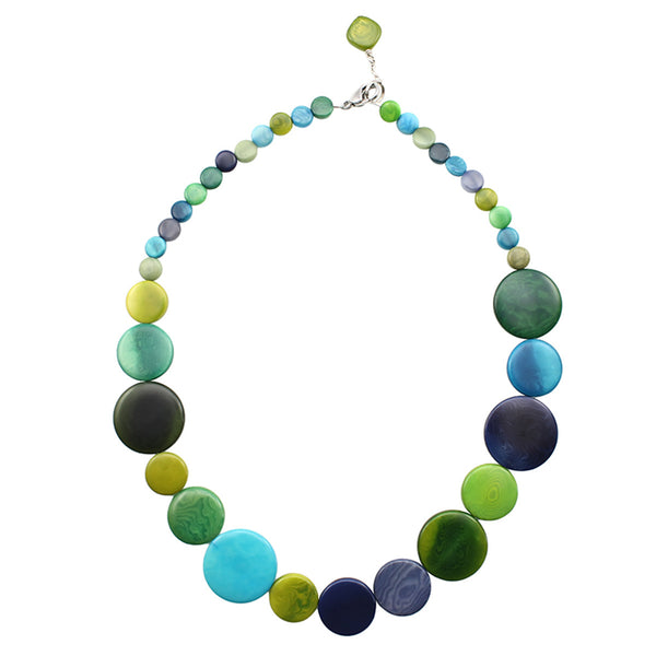 Vegetable Ivory Necklace in Green Tones