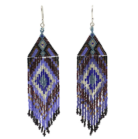 Beaded Chandelier Earrrings in Blue Tones