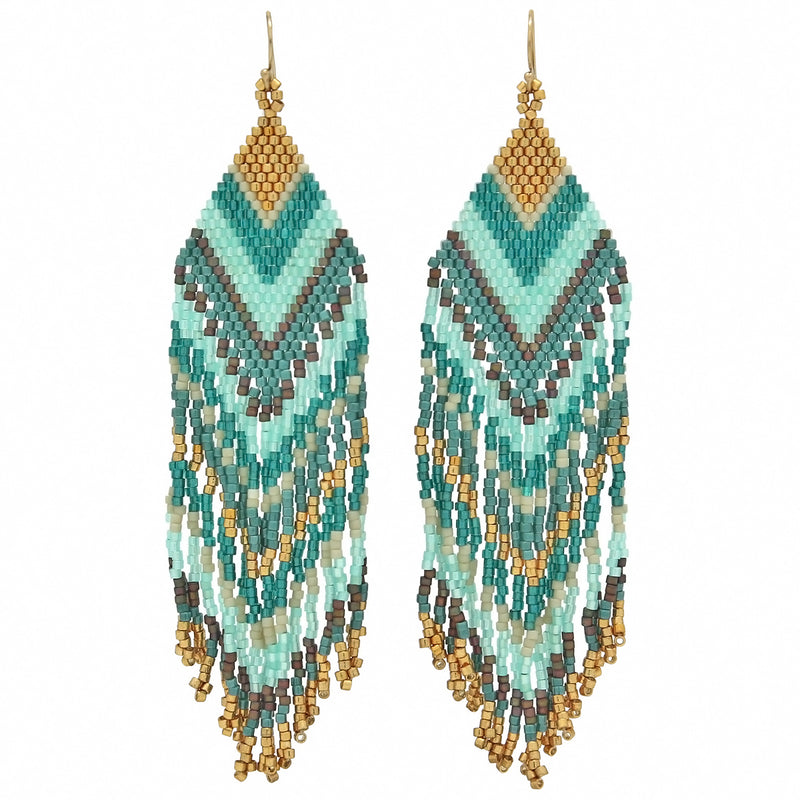 Beaded Chandelier Earrings in green tones