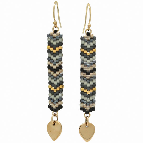 GLASS BEADS EARRINGS IN NEUTRAL TONES AND GOLD
