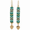 GLASS BEADS EARRINGS IN GREEN TONES WITH GOLD
