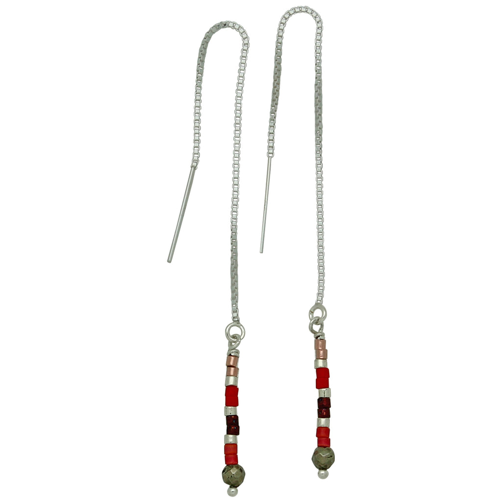 CHAIN EARRINGS IN STERLING SILVER AND RED TONES