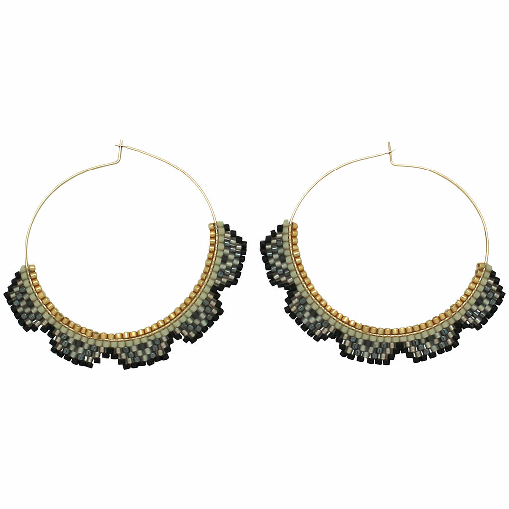 HOOP EARRINGS IN GOLD & BLACK TONES