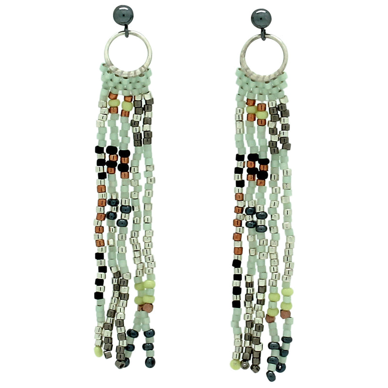TOPO EARRINGS IN COBRE, GREEN AND SILVER TONES