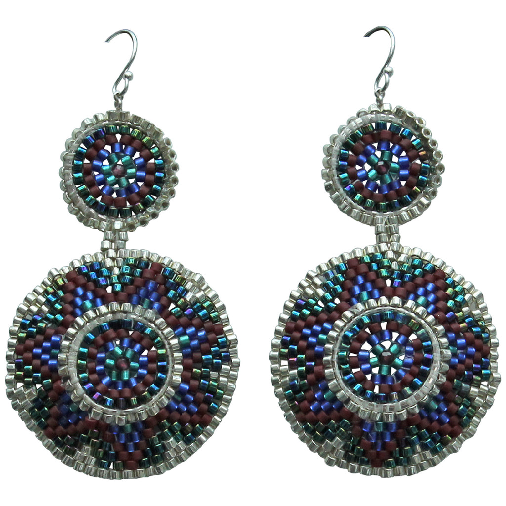 WINTER EARRINGS IN BLUE & SILVER TONES