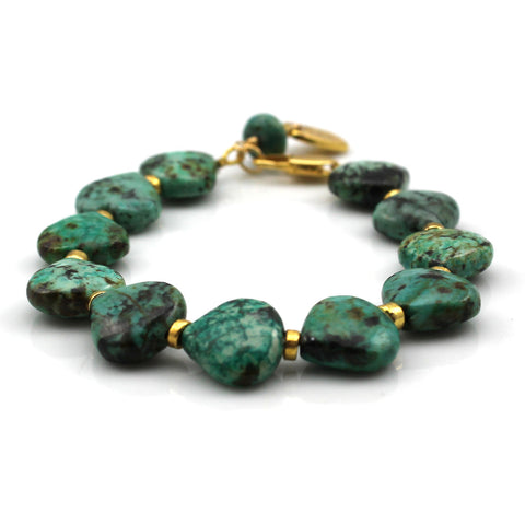 African Turquoise and Gold Plated Bracelet in Green Tones