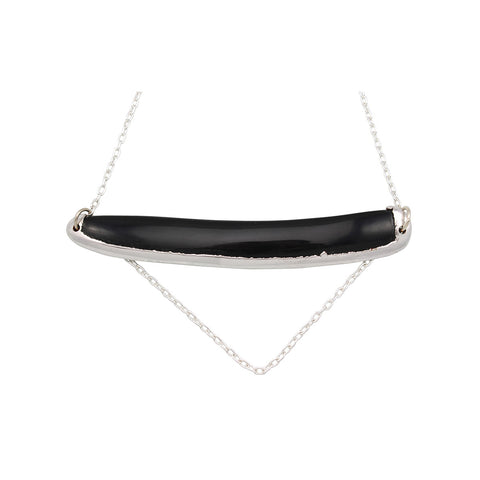 Fivel Black Horn Necklace Silver Chain