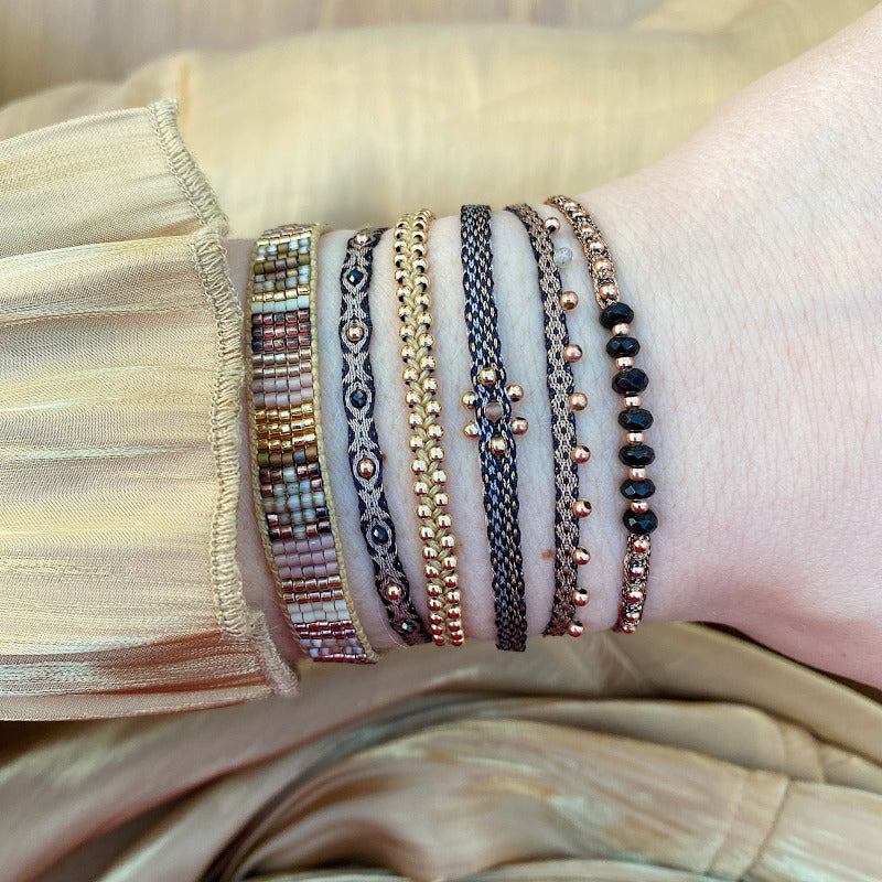 HANDWOVEN MIX BRACELET IN BLACK & ROSE GOLD