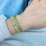 TURQUOISE AND YELLOW SET OF TWO HANDMADE BRACELETS