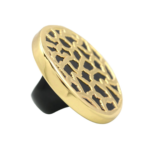 Horus Horn Black Unique Cocktail Gold Ring