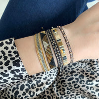 BT BRACELET IN GOLD, BEIGE AND BLACK