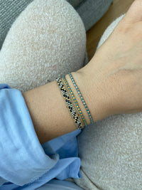 THIN BRACELET IN PAGODA BLUE & GOLD