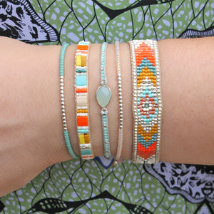 GLASS BEADS HANDWOVEN BRACELET WITH TURQUOISE STONE  DETAIL