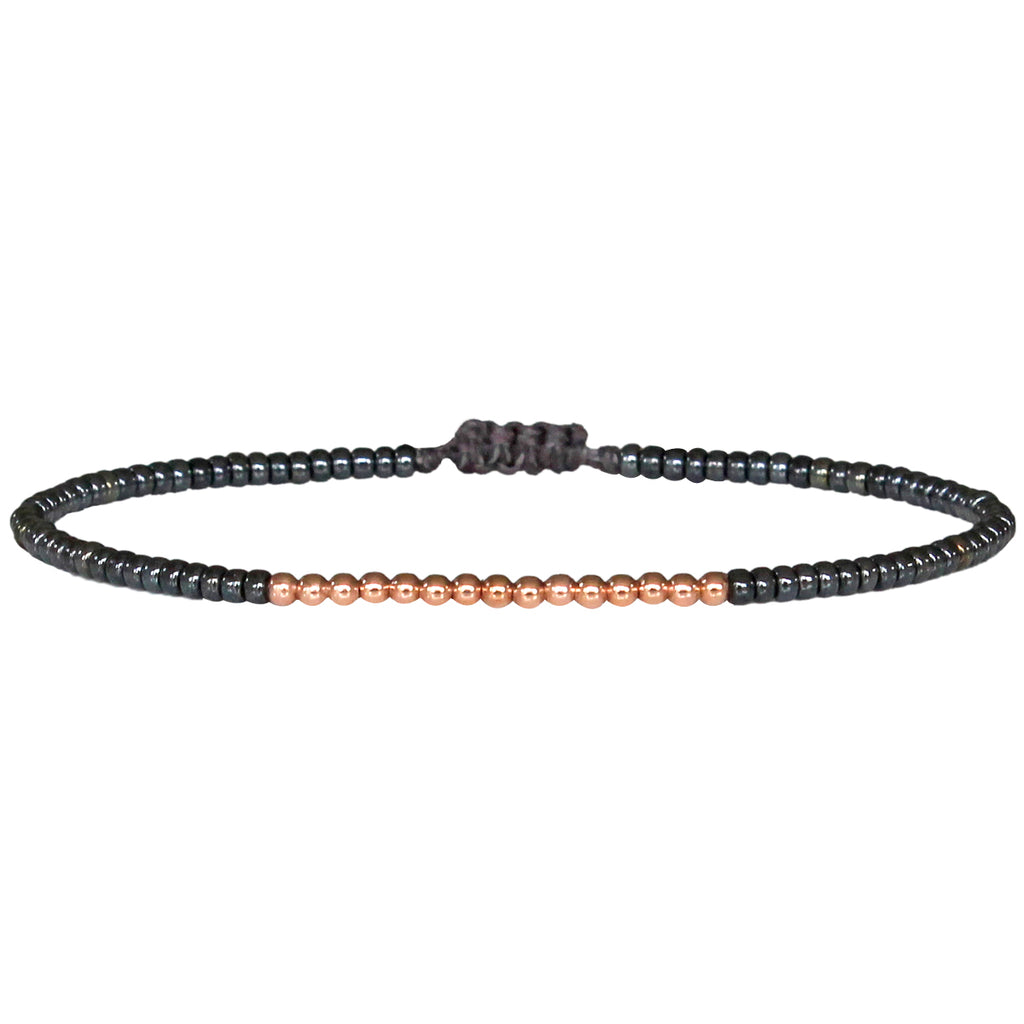 PETITE BRACELET IN IRIDESCENT GUNMETAL WITH 14K ROSE GOLD FILLED BEADS