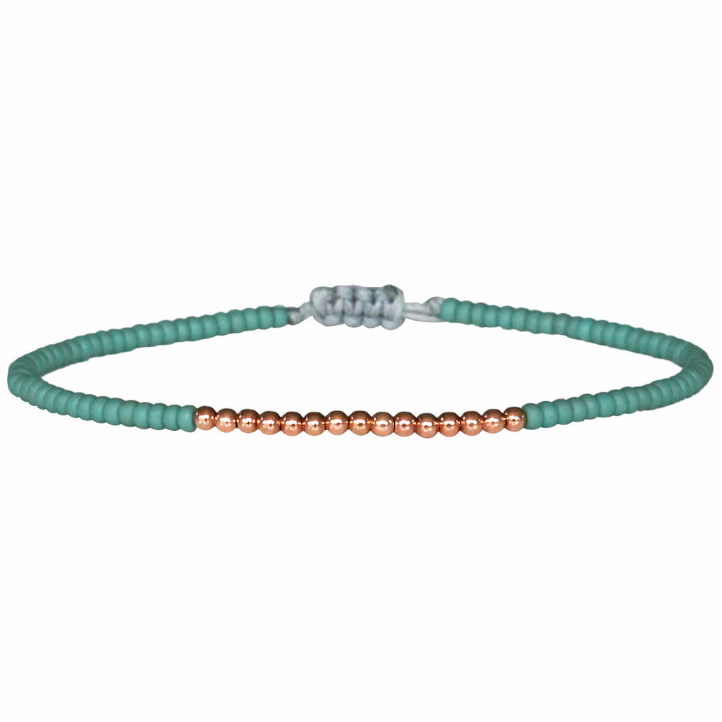 PETITE BRACELET IN TURQUOISE AND 14K ROSE GOLD FILLED