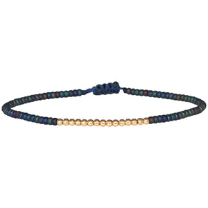 PETITE BRACELET IN IRIDESCENT BLUE COLOR AND 14K GOLD FILLED DETAILS